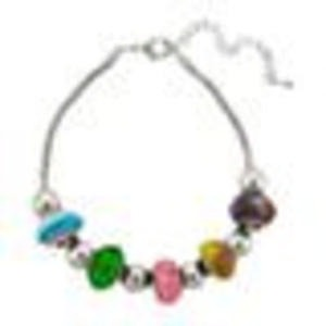 Silver-Plated Multicolor Artisan Glass Bead Bracelet