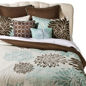 8PC Bedding Set-Blue or Brown Floral (Queen)