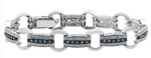 1 ct. tw.. Genuine White & Irradiated Blue Diamond Bracelet