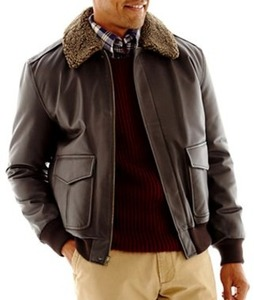 St. John's Bay Men's Leather Bomber Jacket