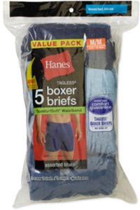 Hanes Crew-Neck Tee 6 Pack or Boxer Briefs 5 Pack