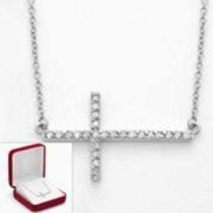 Sterling Silver 1/4-ct T.W. Cross Diamond Pendant