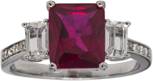 Lab Created Ruby 3-Stone Ring Sterling Silver