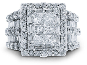 4 ct. tw. Princess Cut Diamond Ring in 10k White Gold