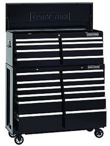 Craftsman 52-Inch 20-Drawer Premium Heavy-Duty 2-PC Combo - Black