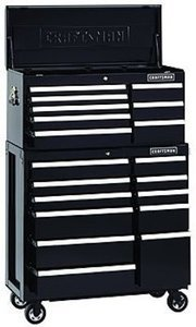 Craftsman 40-Inch 19-Drawer Premium Heavy-Duty 2-PC Combo - Black