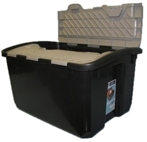 12Gal Hinged-Lid Tote - Black/Brown
