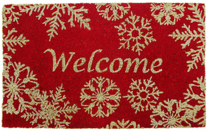 Holiday Living Door Mat - Red w/ Snowflakes