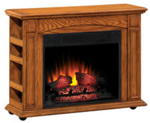 "Style Selections 37"" Premium Oak Electric Fireplace"