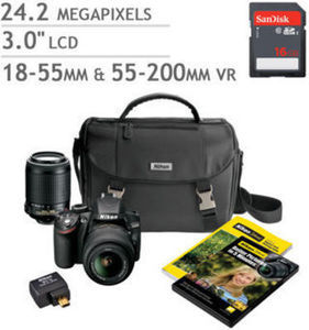 Nikon D3200 DSLR Camera 2 Lens Bundle