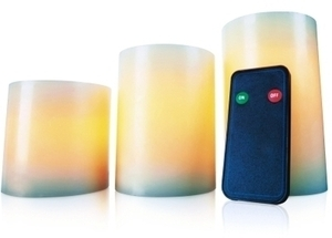 Inglow Flameless Round Wax Pillar Candles With Remote 3/Pack