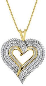 1/2 ct.tw. Diamond Layered Heart Pendant Necklace