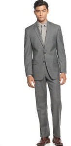 Calvin Klein Grey Sharkskin Slim-Fit Suit