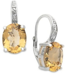 Victoria Townsend Sterling Silver Earrings, Citrine (4-3/4 ct. t.w.) and Diamond Accent Leverback Earrings