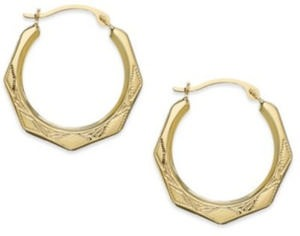 Hexagon Hoop Earrings in 10k Gold