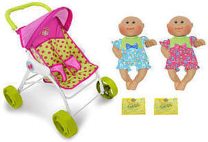 Cabbage Patch Kids Cuddler and So Cute Twin Stroller