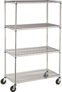 4-Tier Wire Shelving Rack w/ Casters