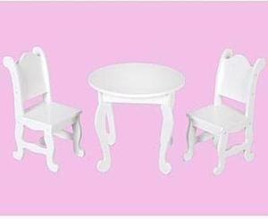 "18"" Doll Furniture Table and Two Chairs"