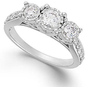 TruMiracle Diamond Three-Stone Ring in 14k White Gold (1 ct. t.w.)