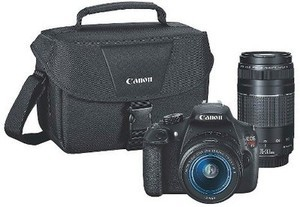 Canon EOS Rebel T5 DSLR Camera with 18-55mm and 75-300mm Lenses and Bag - Black (9126B057)