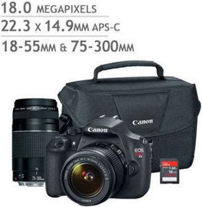 Canon EOS Rebel T5 DSLR Camera 2 Lens Bundle