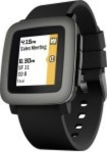 Pebble - Time Smartwatch 38mm Polycarbonate - Black Silicone