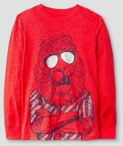 Boys' Long Sleeve Lion Graphic T-Shirt Cat & Jack - Red