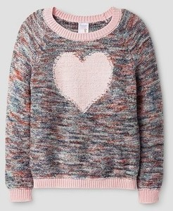 Toddler Girls' Heart Pullover Sweater Gray - Cat & Jack™