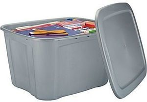 Staples 18 Gallon Plastic Flat Lid Tote, Silver