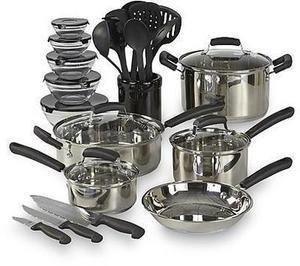 Essential Home 25-Pc. Stainless Steel or Nonstick Mega Set
