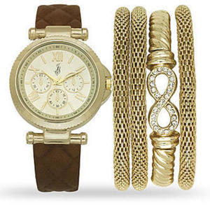 Jaclyn Smith Ladies Gold and Brown Watch and Bracelet Set