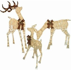 "Holiday Time Christmas Decor Set Of 3 Woodland-Look Deer Family, 48"" Buck, 36"" Doe, 28"" Fawn"
