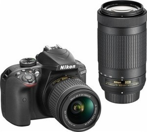 Nikon D3400 DSLR Camera with AF-P DX 18-55mm and 70-300mm Lenses + Free 32GB Memory Card