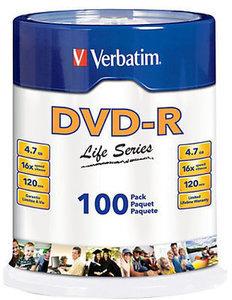 Verbatim DVD-R Life Series Spindle, Pack Of 100
