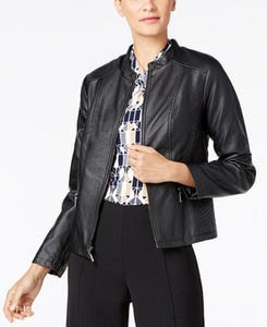 Seamed Faux-Leather Jacket