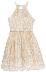 Rare Editions Metallic-Lace Dress