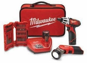 Milwaukee M12 Cordless 2-Tool Combo Kit with Bit Set, Lithium-Ion, 12-Volt