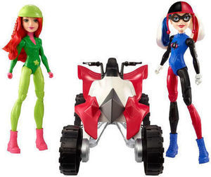DC Super Hero Girls Harley Quinn and Poison Ivy w/ ATV Figure and Vehicle