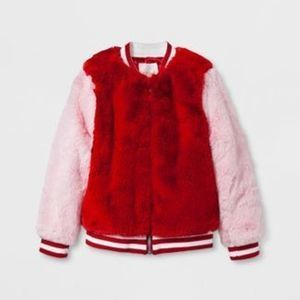 Cat & Jack Toddler Girls' Fur Bomber Jacket -  Red Velvet