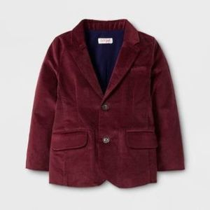Toddler Boys' Velvet Blazer - Cat & Jack Dark Red