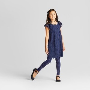 Girls' Scallop Dress - Cat & Jack Navy
