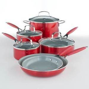 Food Network 10-pc. Red Ceramic Cookware Set + $15 Kohl's Cash