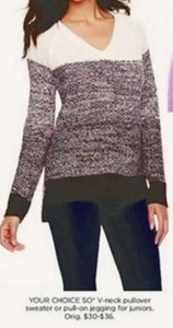 Juniors So V-Neck Pullover Sweater or Jegging