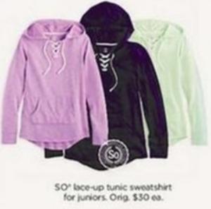 So Juniors Lace-Up Tunic Sweatshirt