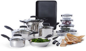 Cooks 25-Piece Family Size Stainless Steel Cookware Set After Rebate