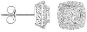TruMiracle 1/4 CT. T.W. Diamond Square Sterling Silver Earrings 1/4 ct. tw. Diamond Earrings