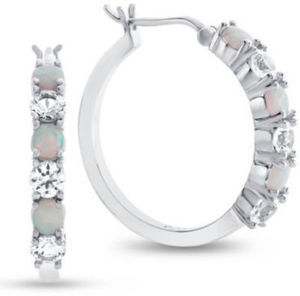 Lab-Created Opal & Lab-Created White Sapphire Sterling Silver Hoop Earrings
