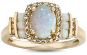 1/7 CT. T.W. Lab Created Opal 10K Gold Cocktail Ring