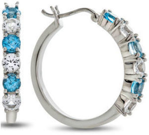 Blue Topaz And Lab Created White Sapphire Sterling Silver Hoop Earrings