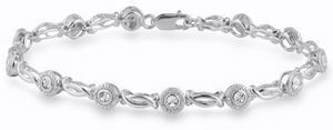 Womens 7 1/2 Inch 1/10 CT. T.W. White Diamond Sterling Silver Link Bracelet